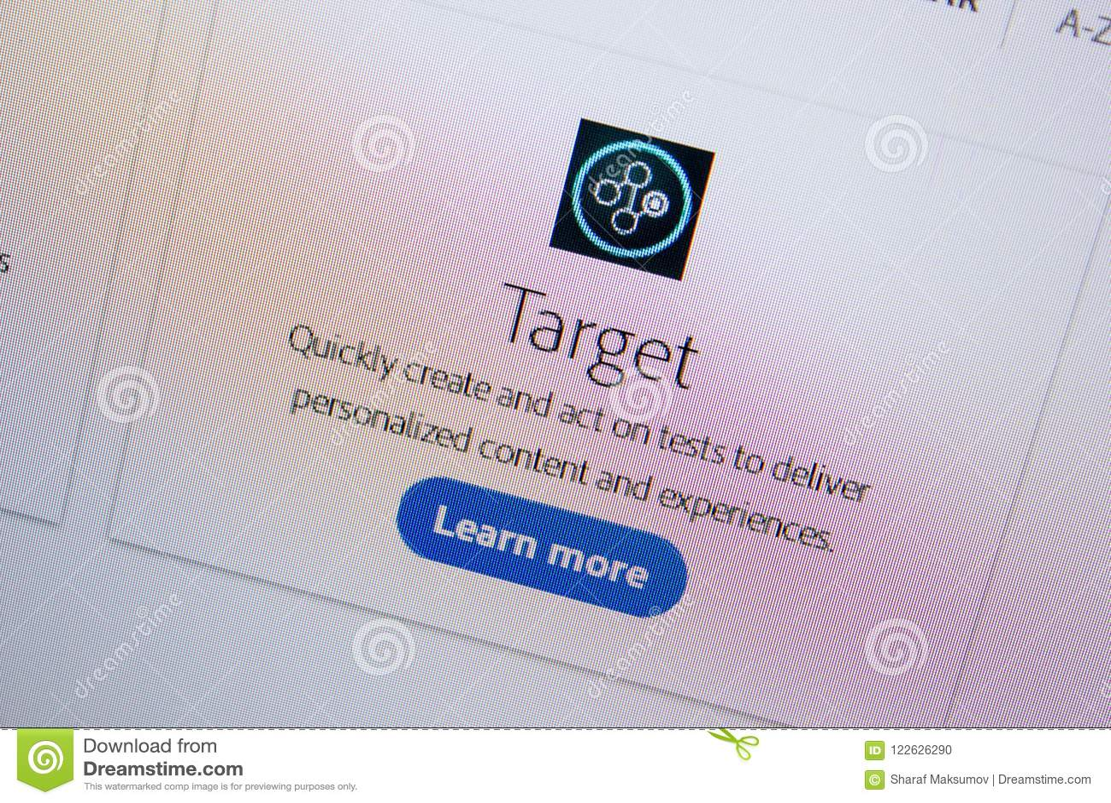 Ryazan, Russia - July 11, 2018: Adobe Target, Software Logo On The
