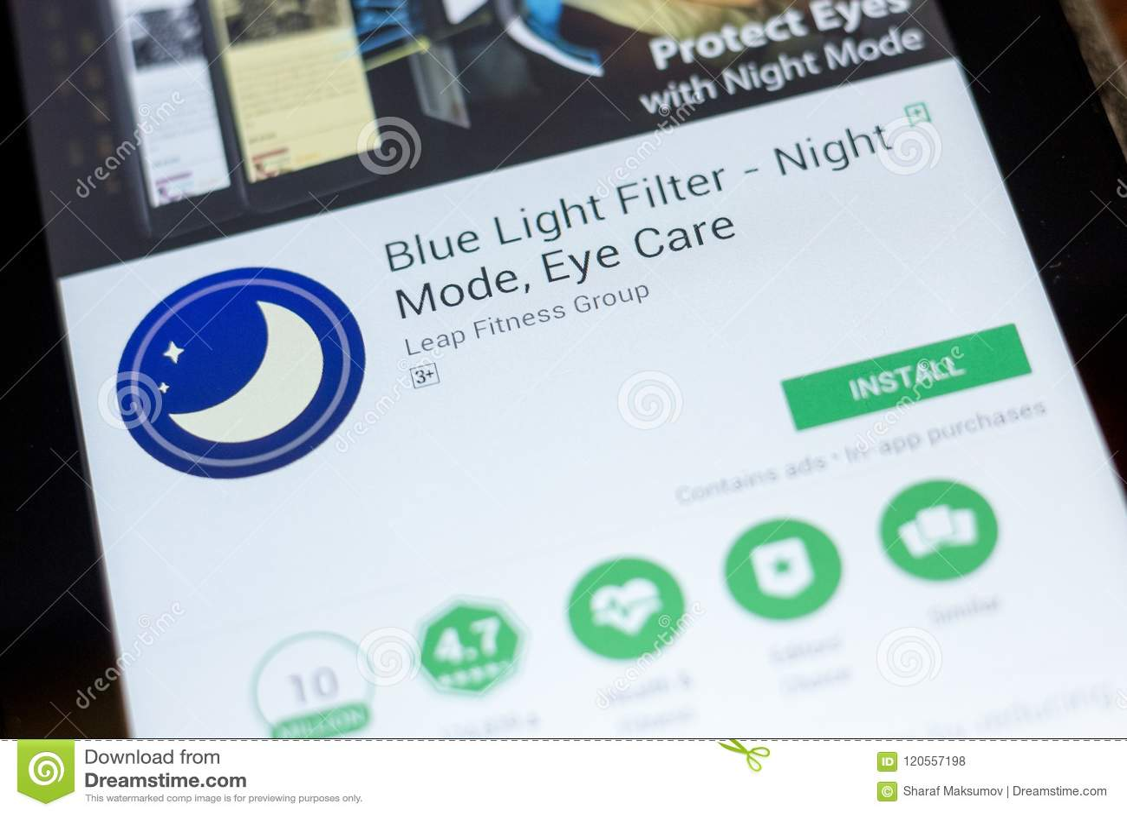 Ryazan, Russia - July 03, 2018: Blue Light Filter - Night Mode, Eye