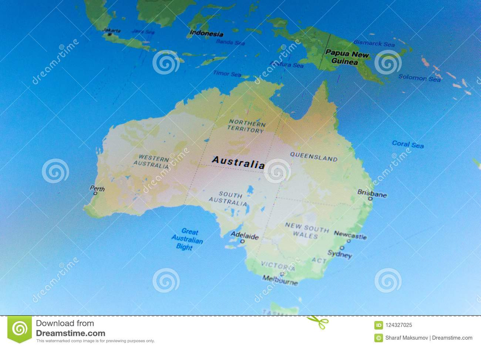 Google Australia Map.Ryazan Russia July 08 2018 Country Of Australia On The Google