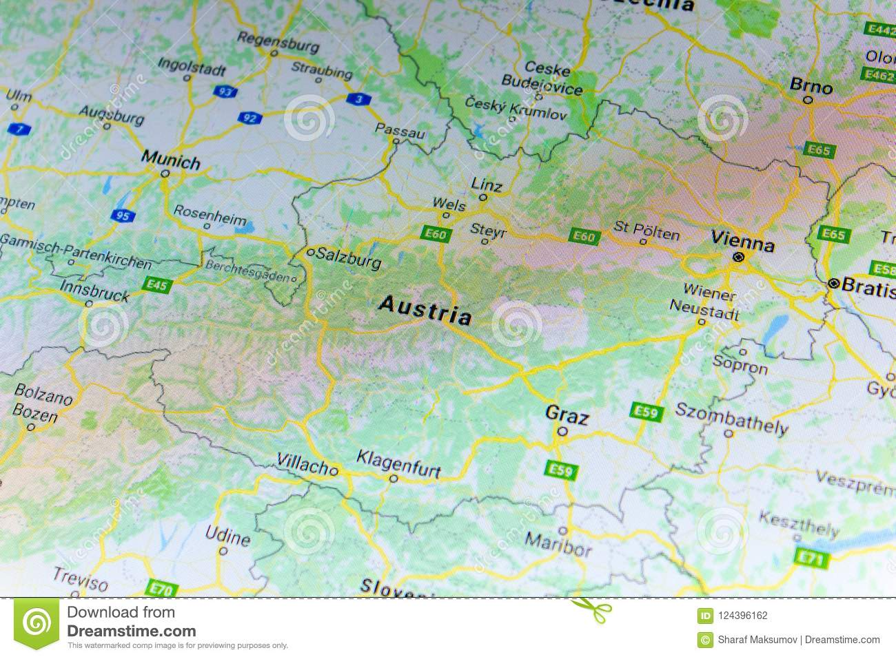 Google Map Of Russia.Ryazan Russia July 08 2018 Country Of Austria On The Google