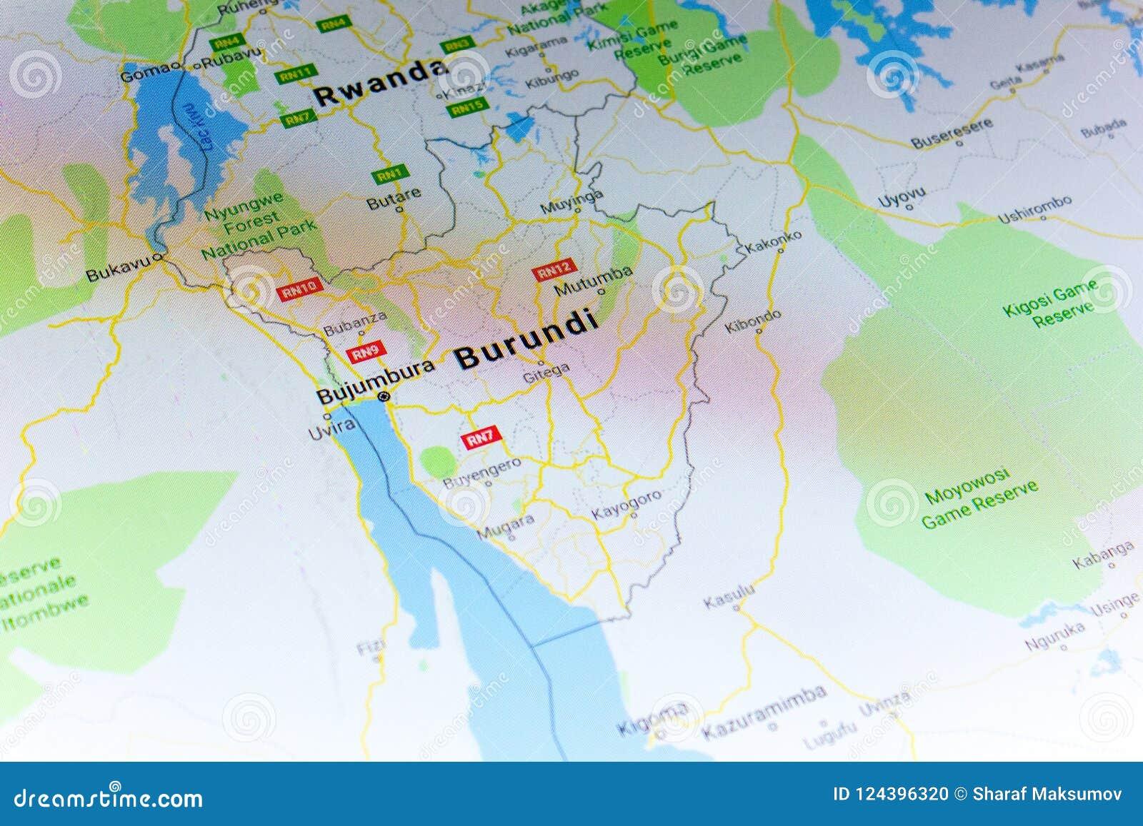 Google Map Of Russia.Ryazan Russia July 08 2018 Country Of Burundi On The Google