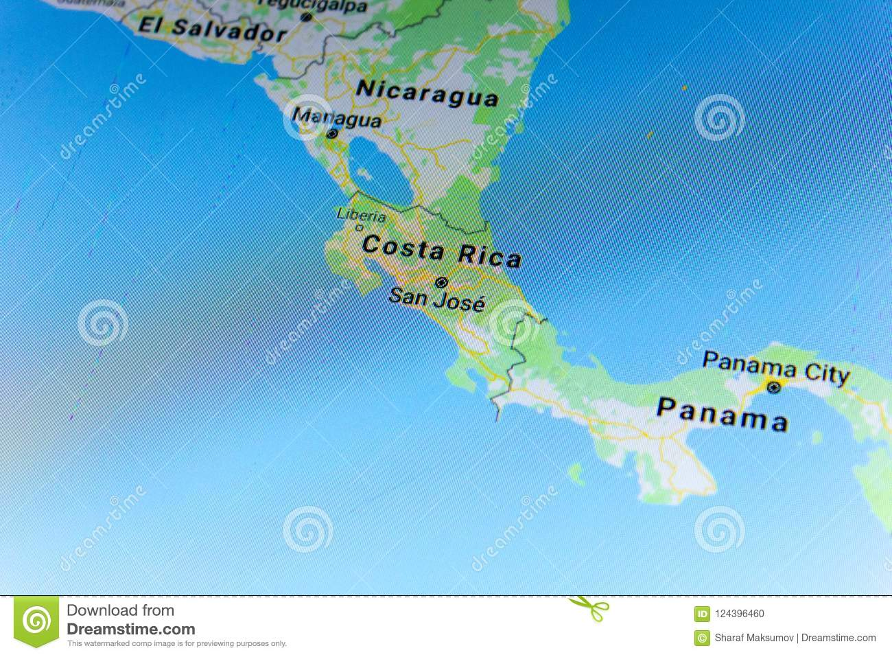Ryazan, Russia - July 08, 2018: Country Of Costa Rica On The Google on formosa on a map, heard island on a map, atlantic ocean on a map, chile on a map, guyana on a map, new south wales on a map, british north borneo on a map, honduras on a map, dr congo on a map, cuba on a map, the sudan on a map, central america on a map, the seychelles on a map, nicaragua on a map, germany on a map, botswana on a map, sea of cortez on a map, venezuela on a map, southern india on a map, galapagos islands on a map,