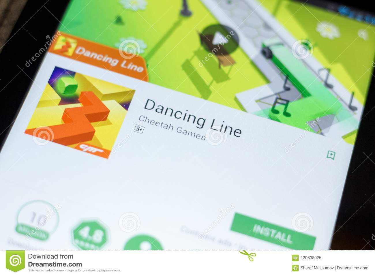 Ryazan, Russia - July 03, 2018: Dancing Line Mobile App On