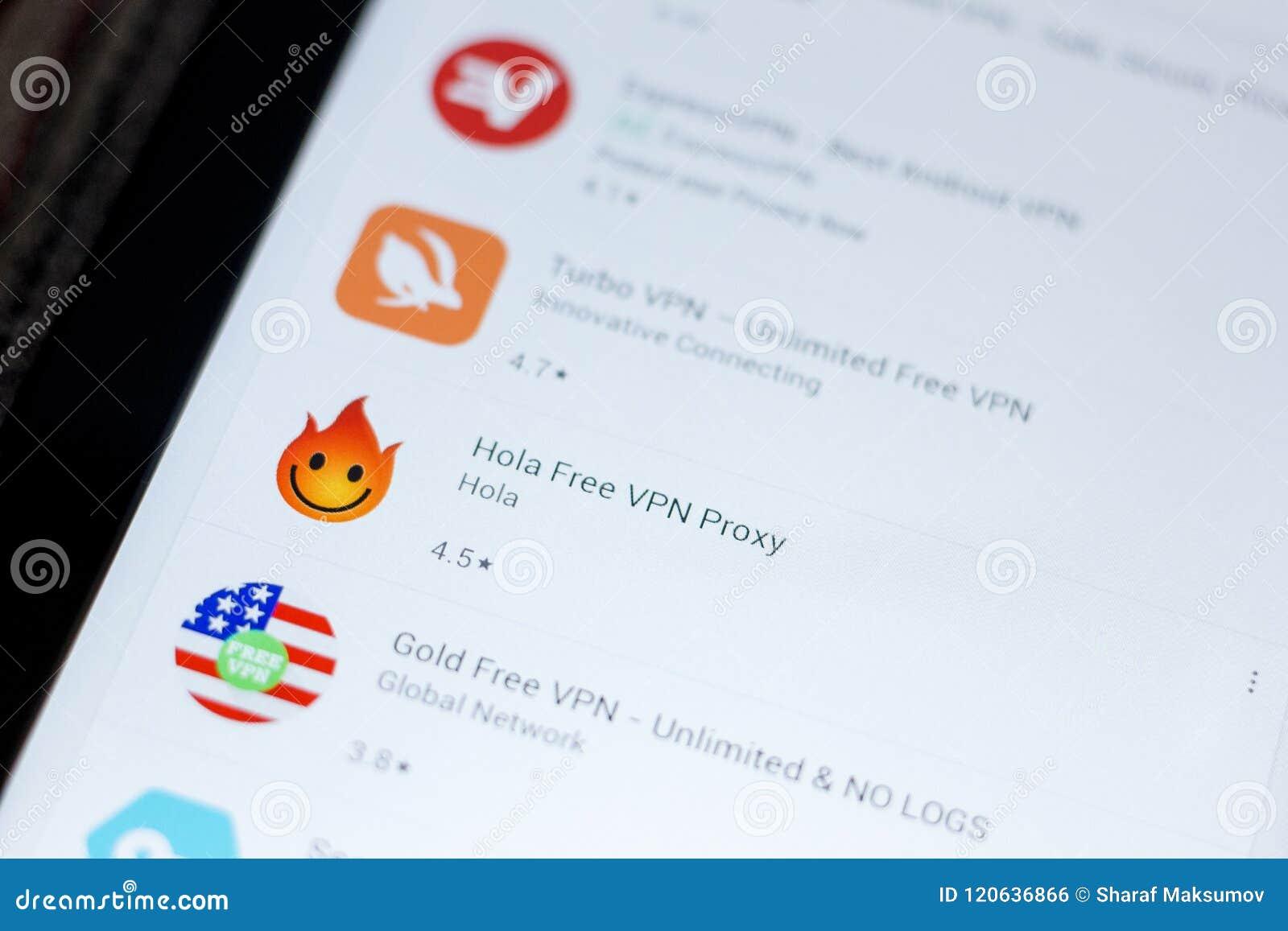 Ryazan, Russia - July 03, 2018: Hola Free VPN Proxy Icon In The List