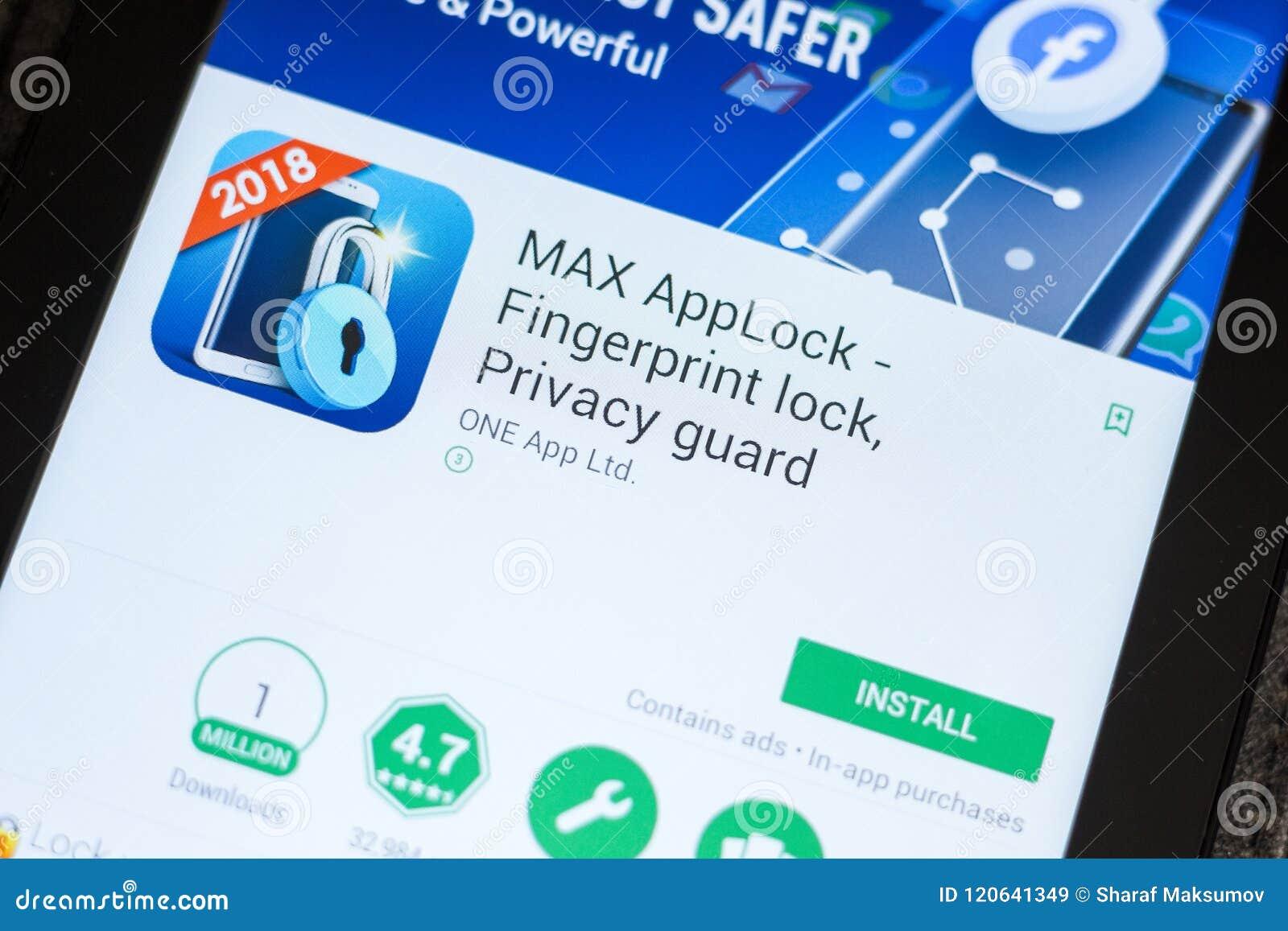 Ryazan Russia July 03 2018 Max Applock Privacy Guard