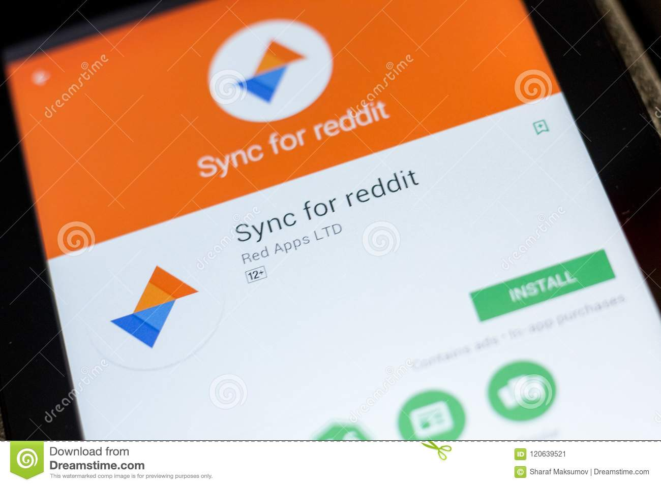 Ryazan, Russia - July 03, 2018: Sync For Reddit Mobile App On The