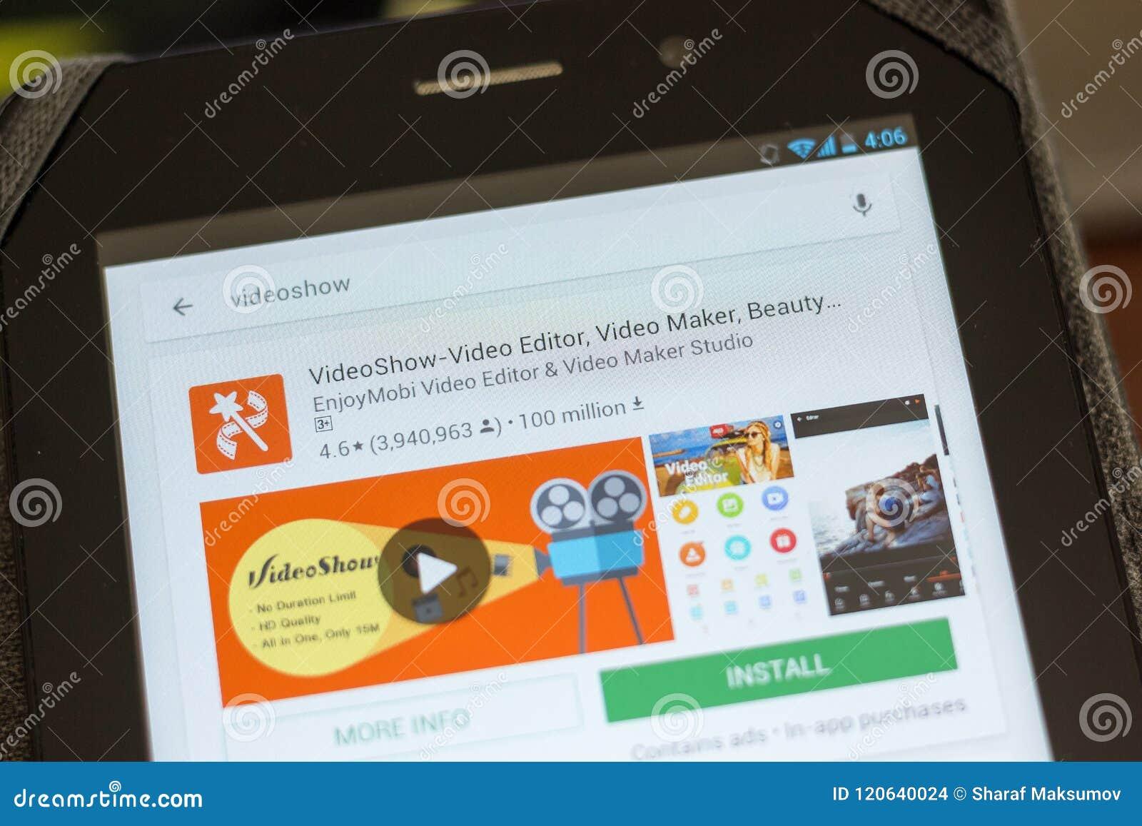 Ryazan, Russia - July 03, 2018: VideoShow Video Editor