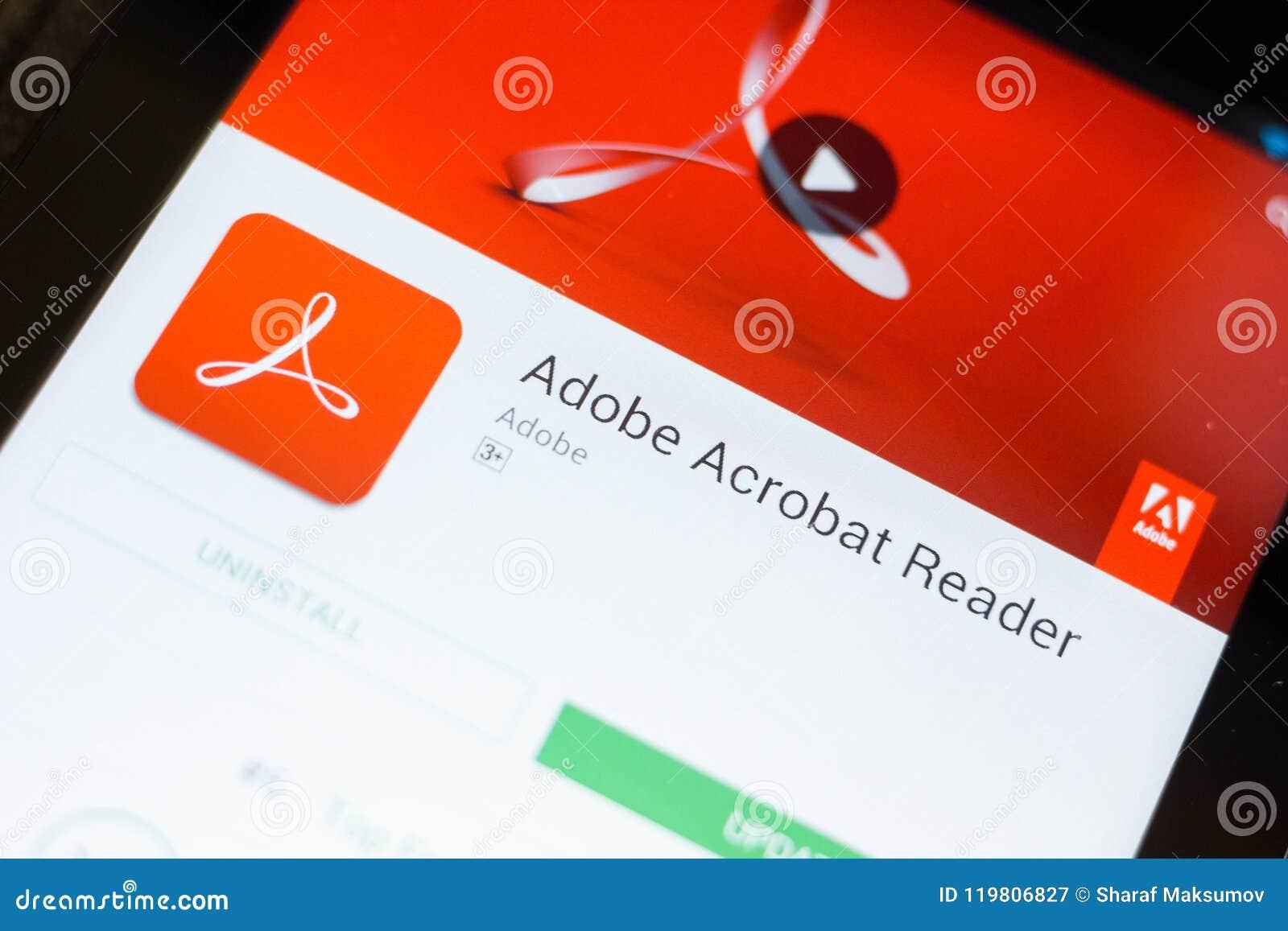 Ryazan, russia july 11, 2018: adobe acrobat reader, software.