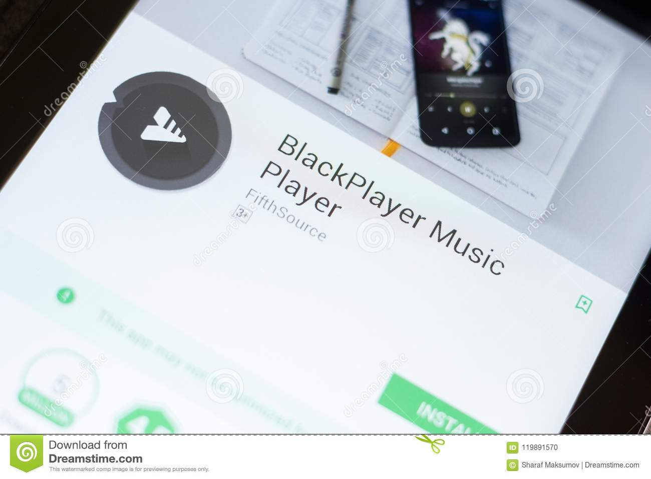 Ryazan, Russia - June 24, 2018: BlackPlayer Music Player Mobile App