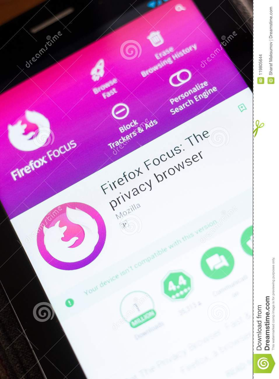 Ryazan Russia June 24 2018 Firefox Focus Privacy Browser Mobile App On The Display Of Tablet Pc Editorial Stock Image Image Of Digital Logo 119805644