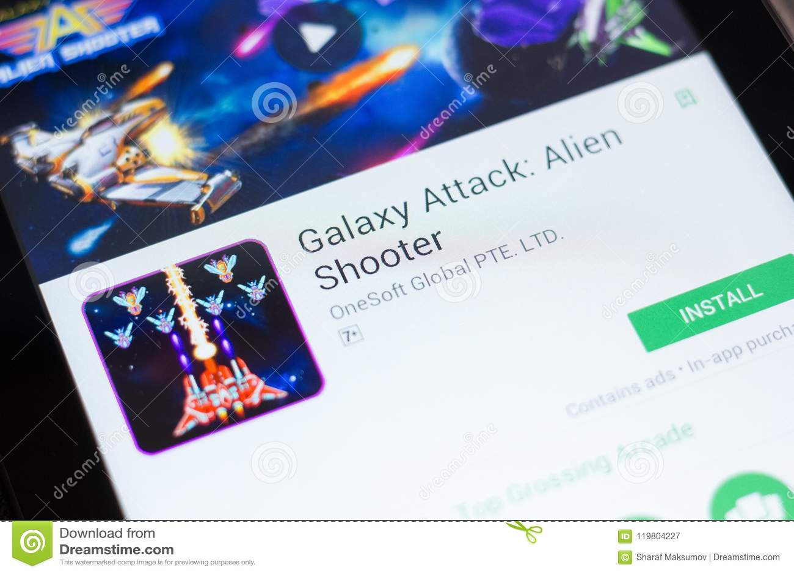 Ryazan, Russia - June 24, 2018: Galaxy Attack Alien Shooter Game