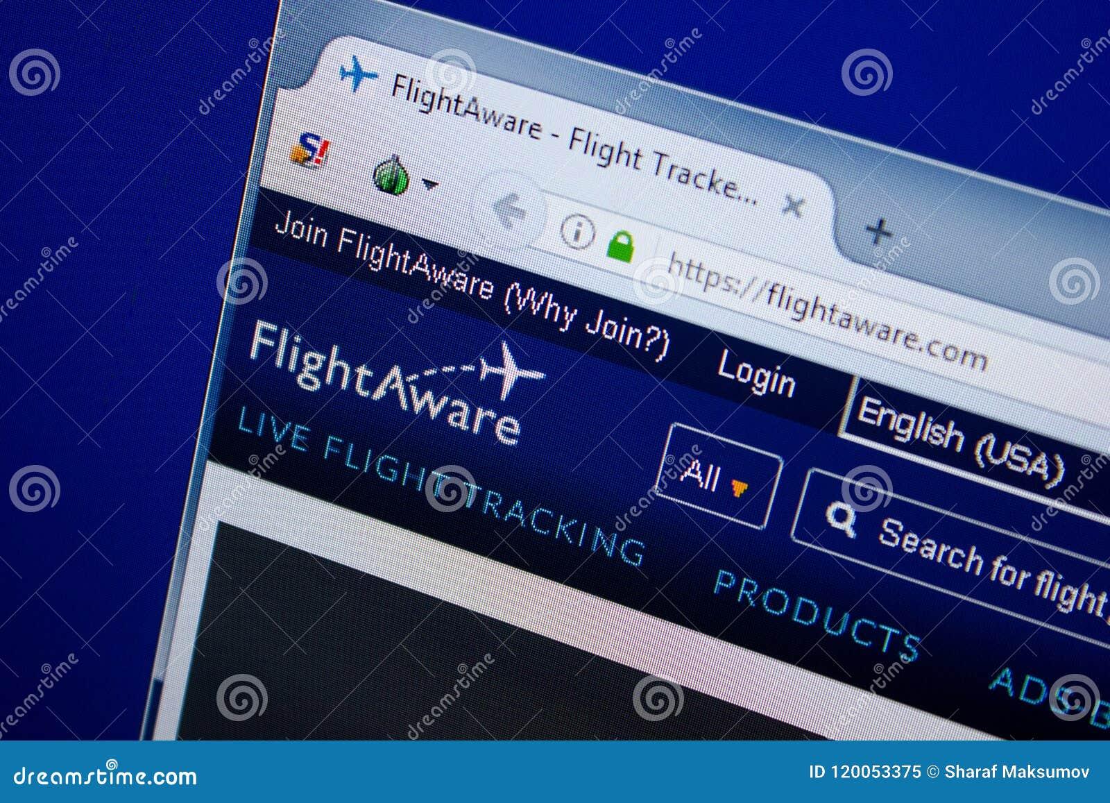 Ryazan, Russia - June 26, 2018: Homepage Of FlightAware Website On