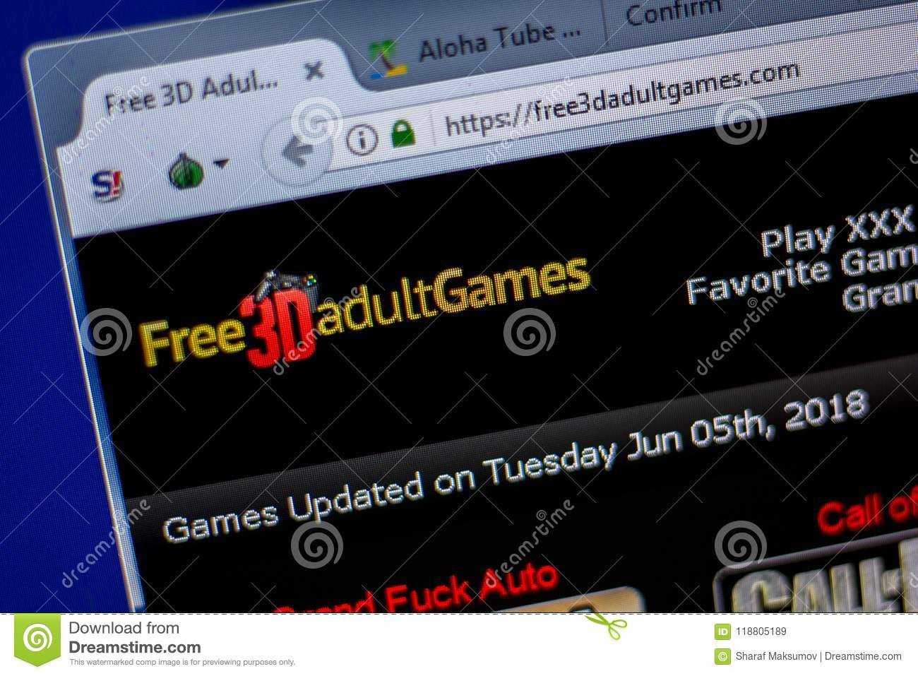 Ryazan, Russia - June 05, 2018: Homepage of Free3dAdultGames website on the  display of PC, url - Free3dAdultGames.com.