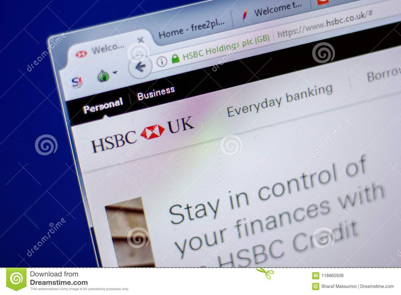 Ryazan, Russia - June 05, 2018: Homepage Of HSBC Website On