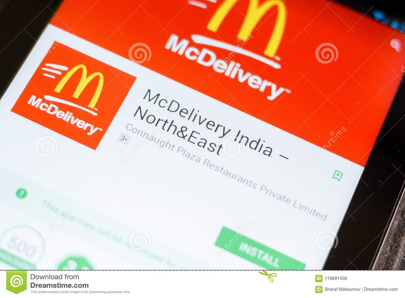Ryazan, Russia - June 24, 2018: McDelivery India, McDonalds