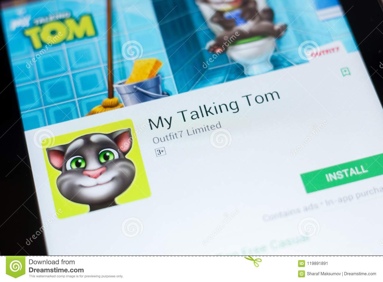 Ryazan, Russia - June 24, 2018: My Talking Tom Mobile App On