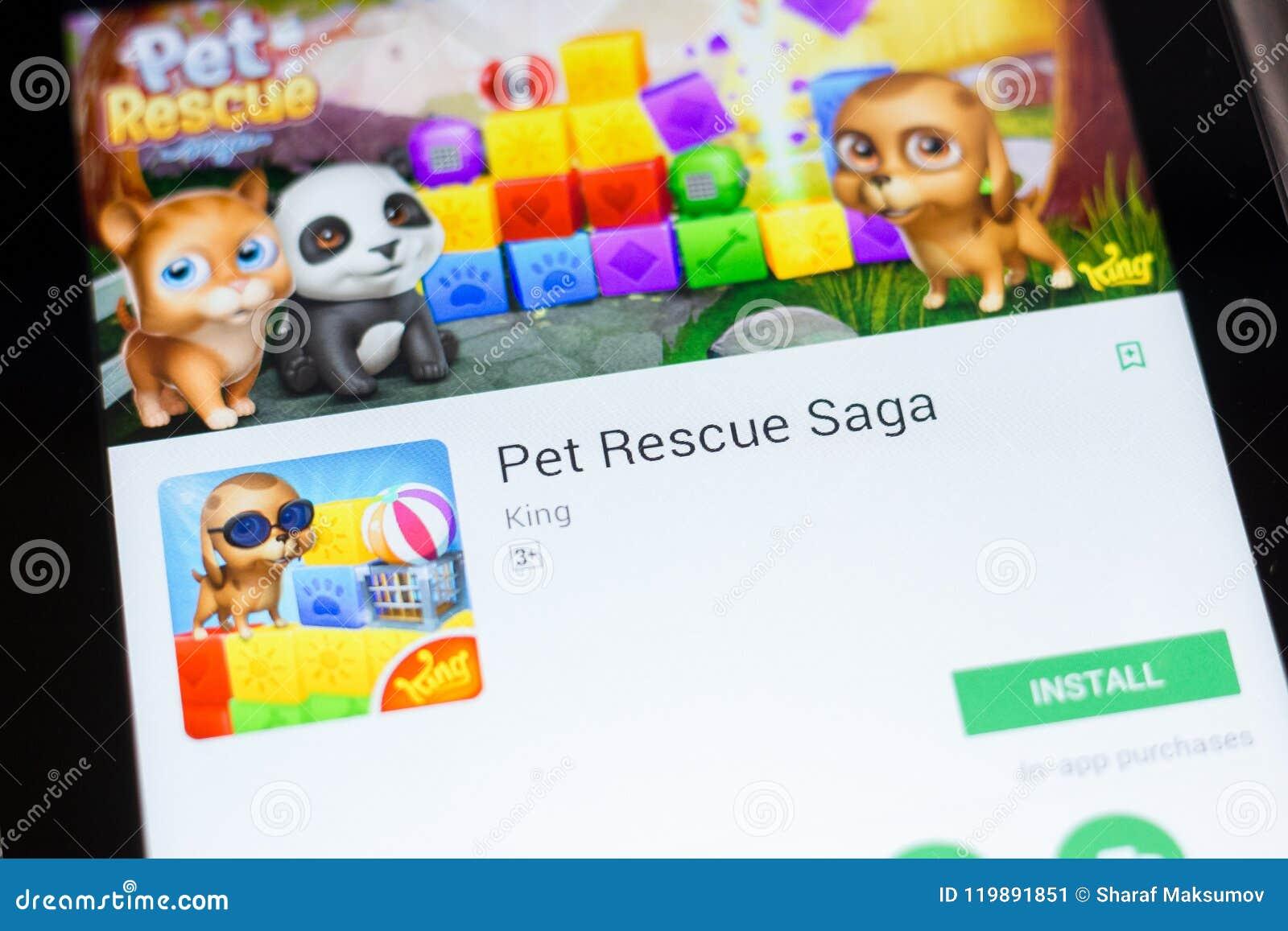 Ryazan, Russia - June 24, 2018: Pet Rescue Saga Mobile App