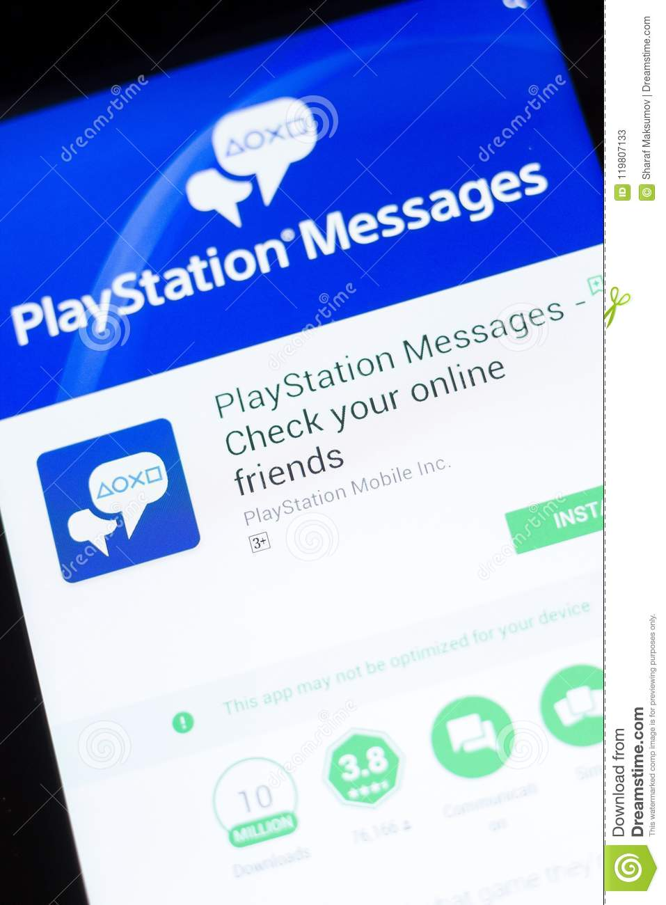 Ryazan, Russia - June 24, 2018: PlayStation Messages Mobile