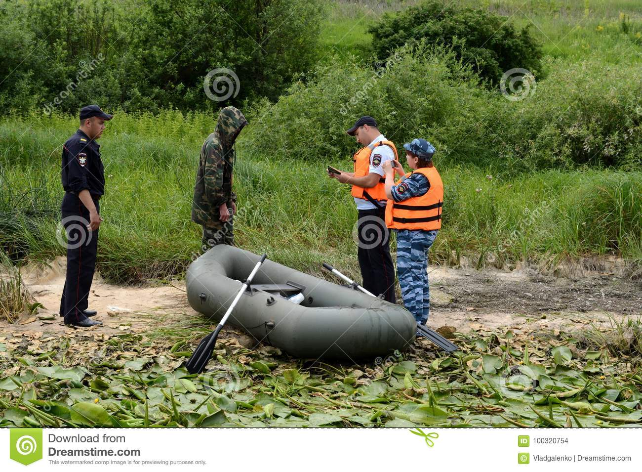 Police Officers Draw Up A Protocol For The Man For Poaching On The