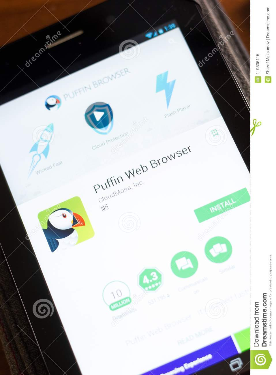 Ryazan, Russia - June 24, 2018: Puffin Web Browser Mobile