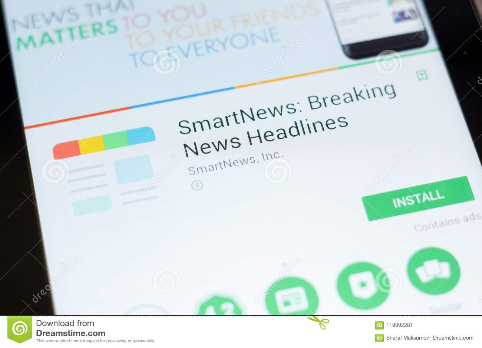 Ryazan, Russia - June 24, 2018: SmartNews - Breaking News