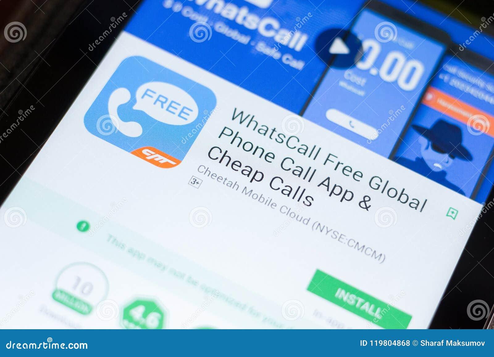 Ryazan, Russia - June 24, 2018: WhatsCall Free Global Phone