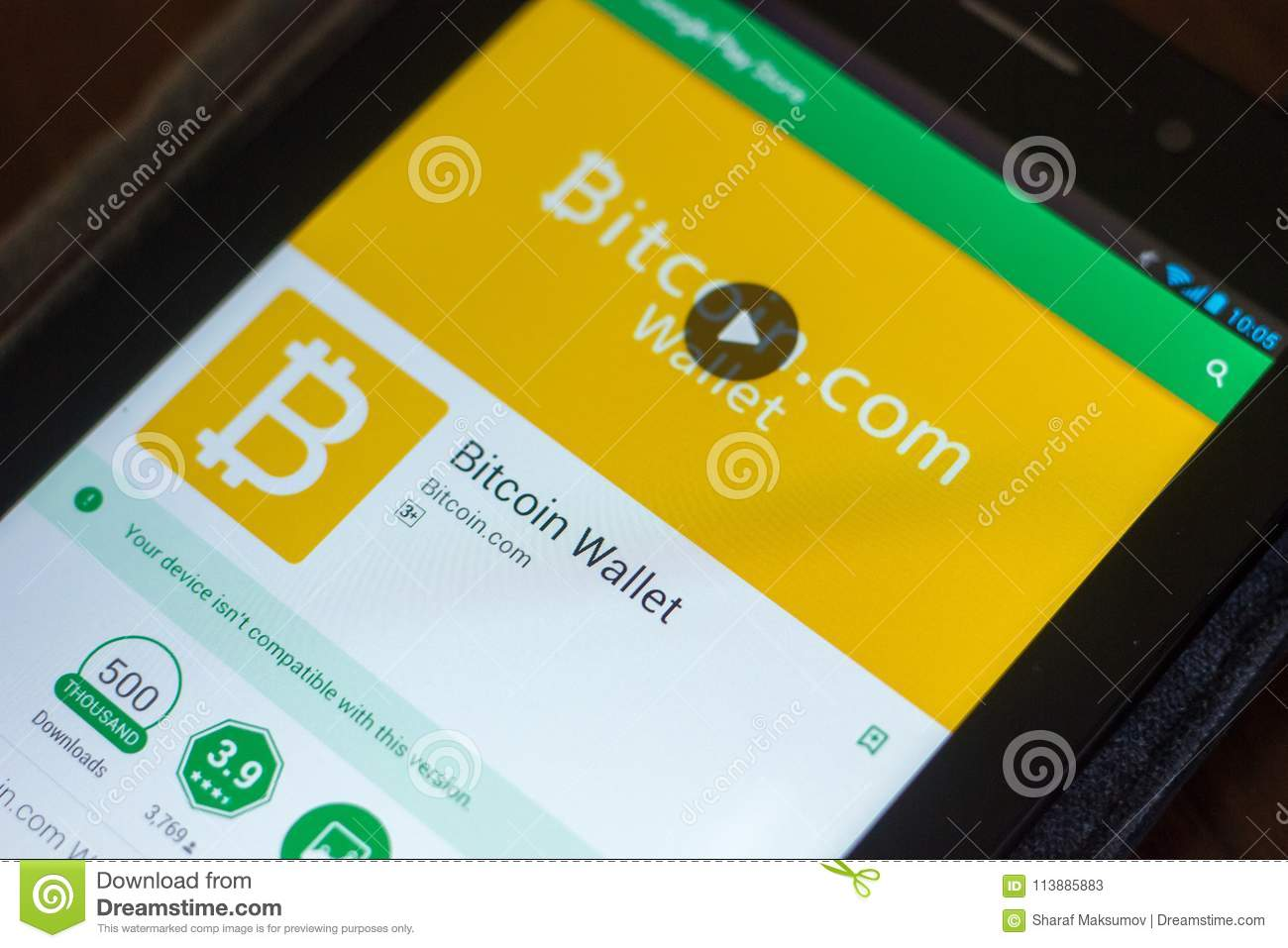 Ryazan, Russia - March 29, 2018 - Bitcoin Wallet App On The Display