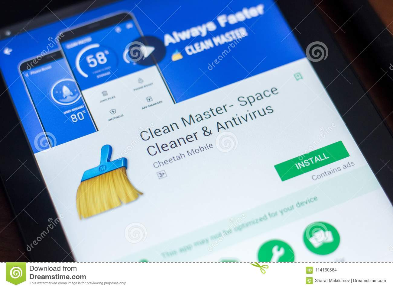 Ryazan, Russia - March 21, 2018 - Clean Master Mobile App On