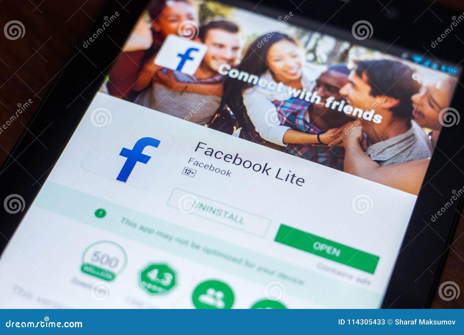 Ryazan, Russia - March 21, 2018 - Facebook Lite Mobile App
