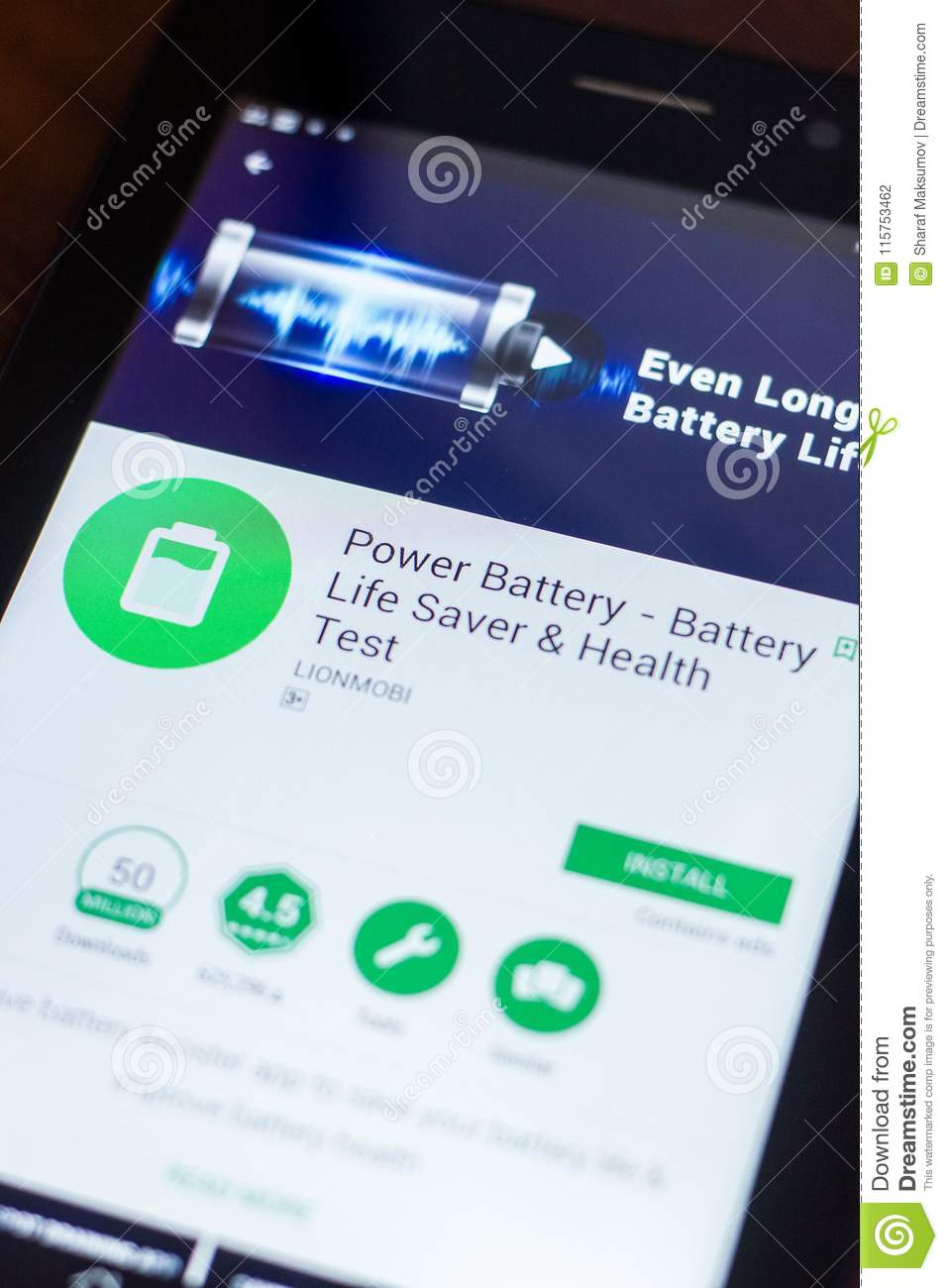 Ryazan, Russia - March 21, 2018 - Power Battery Mobile App On The
