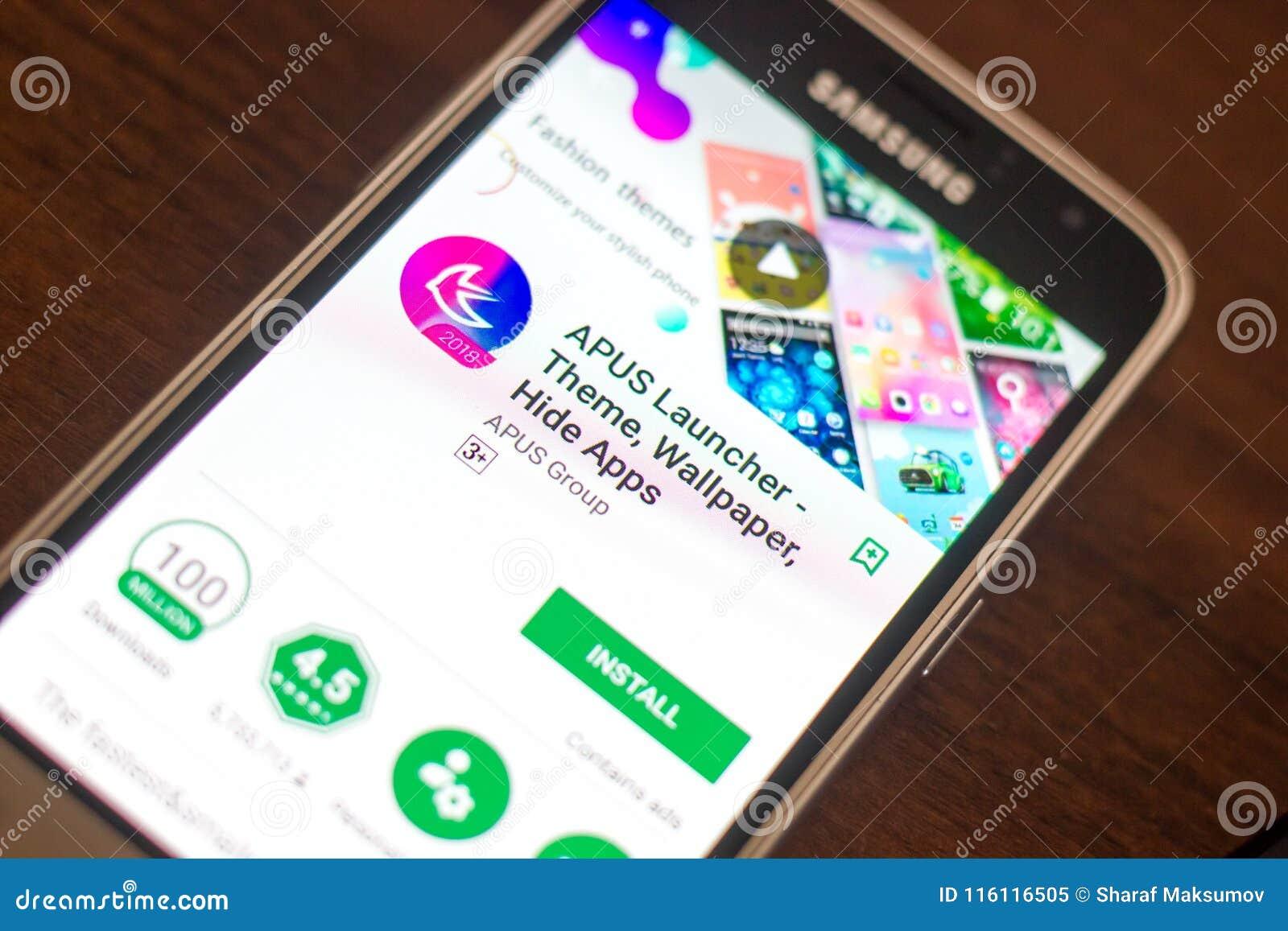 Ryazan, Russia - May 04, 2018: APUS Launcher Mobile App On