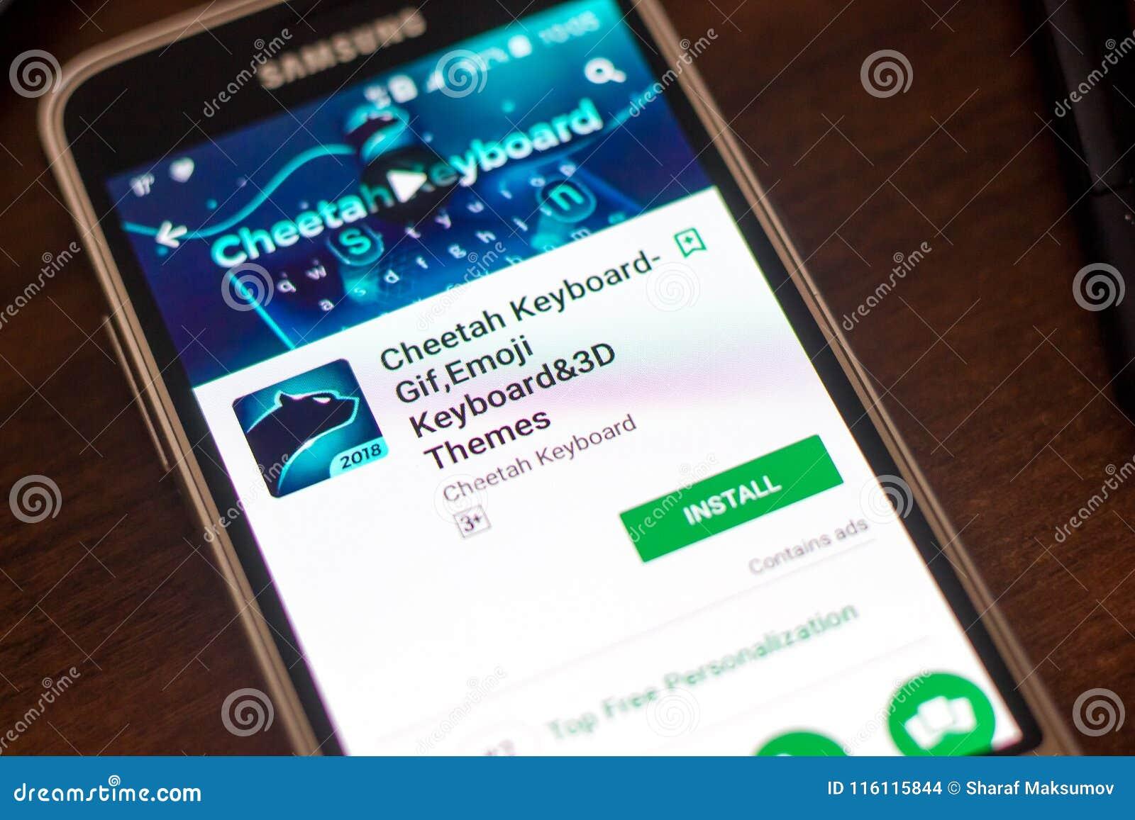 Ryazan, Russia - May 04, 2018: Cheetah Keyboard Mobile App