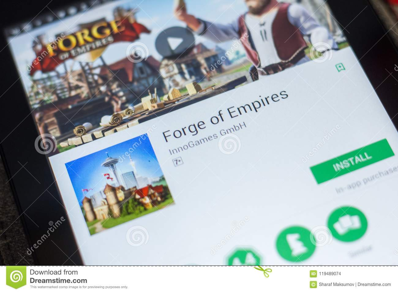 Ryazan, Russia - May 16, 2018: Forge Of Empires Mobile App