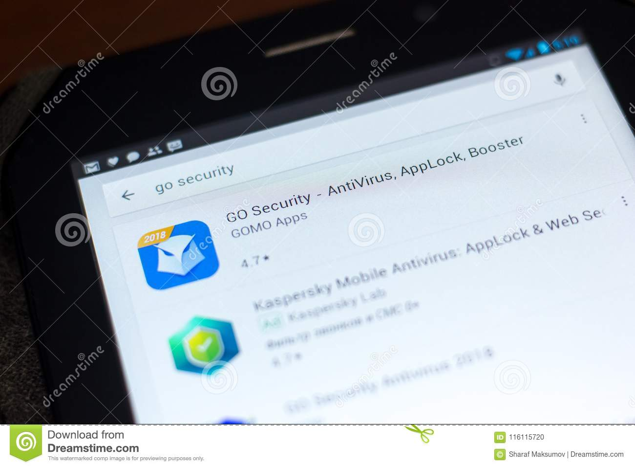 Ryazan Russia May 03 2018 Go Security Icon In The List Of Mobile Apps On The Display Of Tablet Pc Editorial Image Image Of Android Display 116115720
