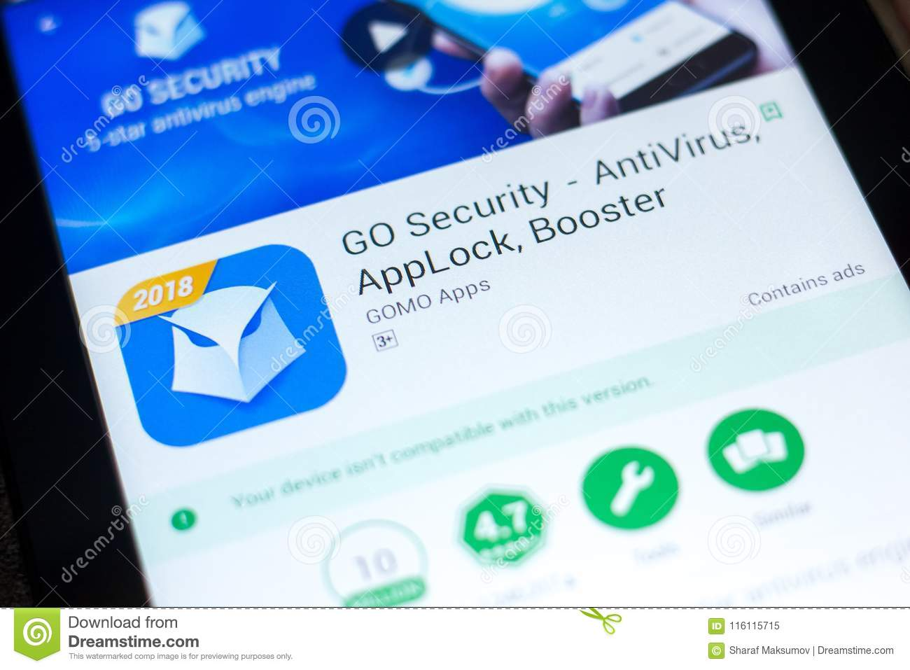 Ryazan Russia May 03 2018 Go Security Mobile App On The Display Of Tablet Pc Editorial Image Image Of Booster Ecommerce 116115715