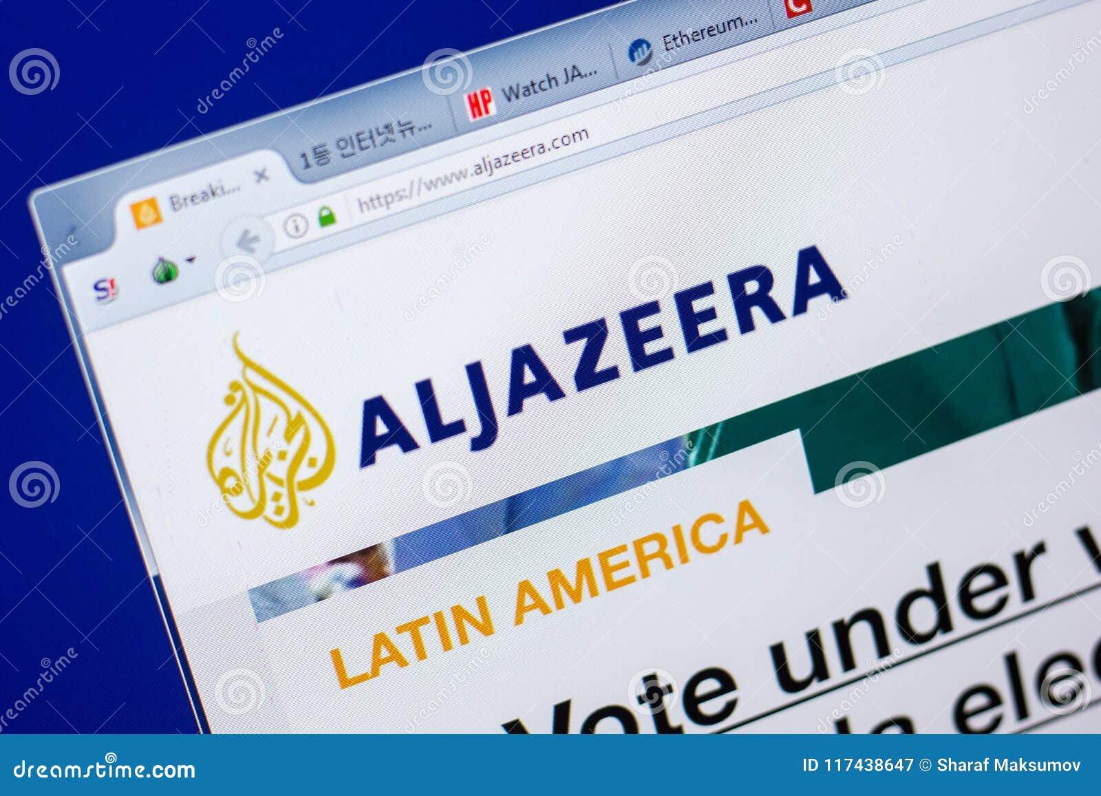 Ryazan, Russia - May 20, 2018: Homepage of Aljazeera website on the display of PC, url - Aljazeera.com.
