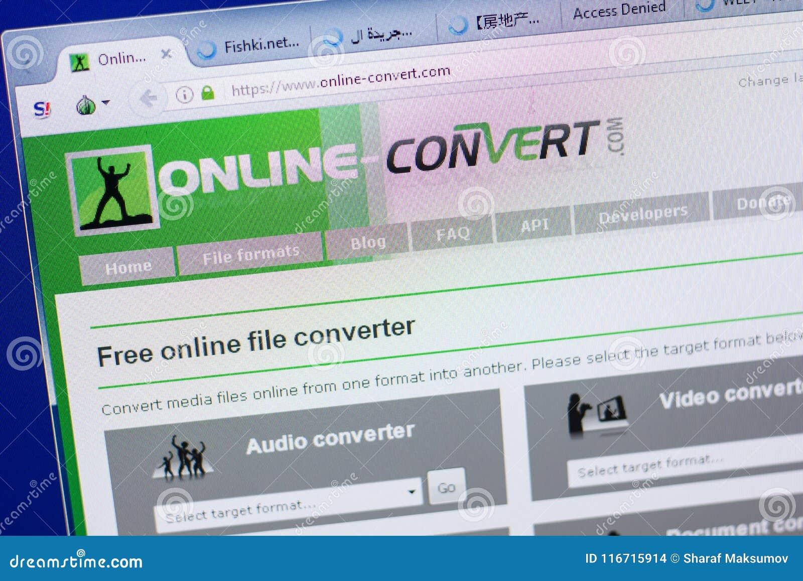 Ryazan, Russia - May 13, 2018: Online-convert Website On The Display