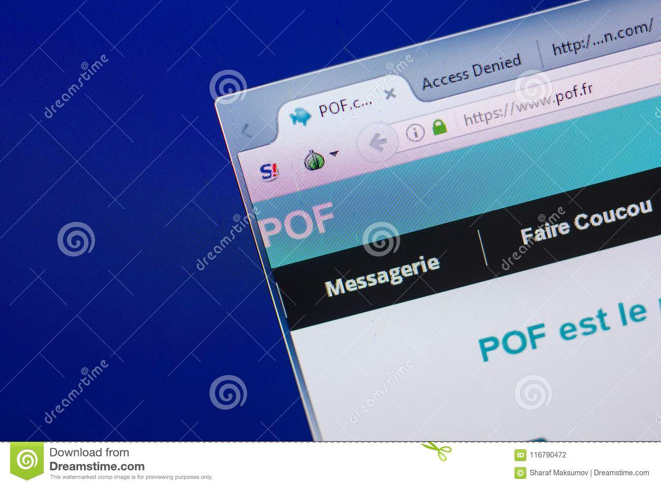Ryazan, Russia - May 13, 2018: Pof Website On The Display Of PC, Url