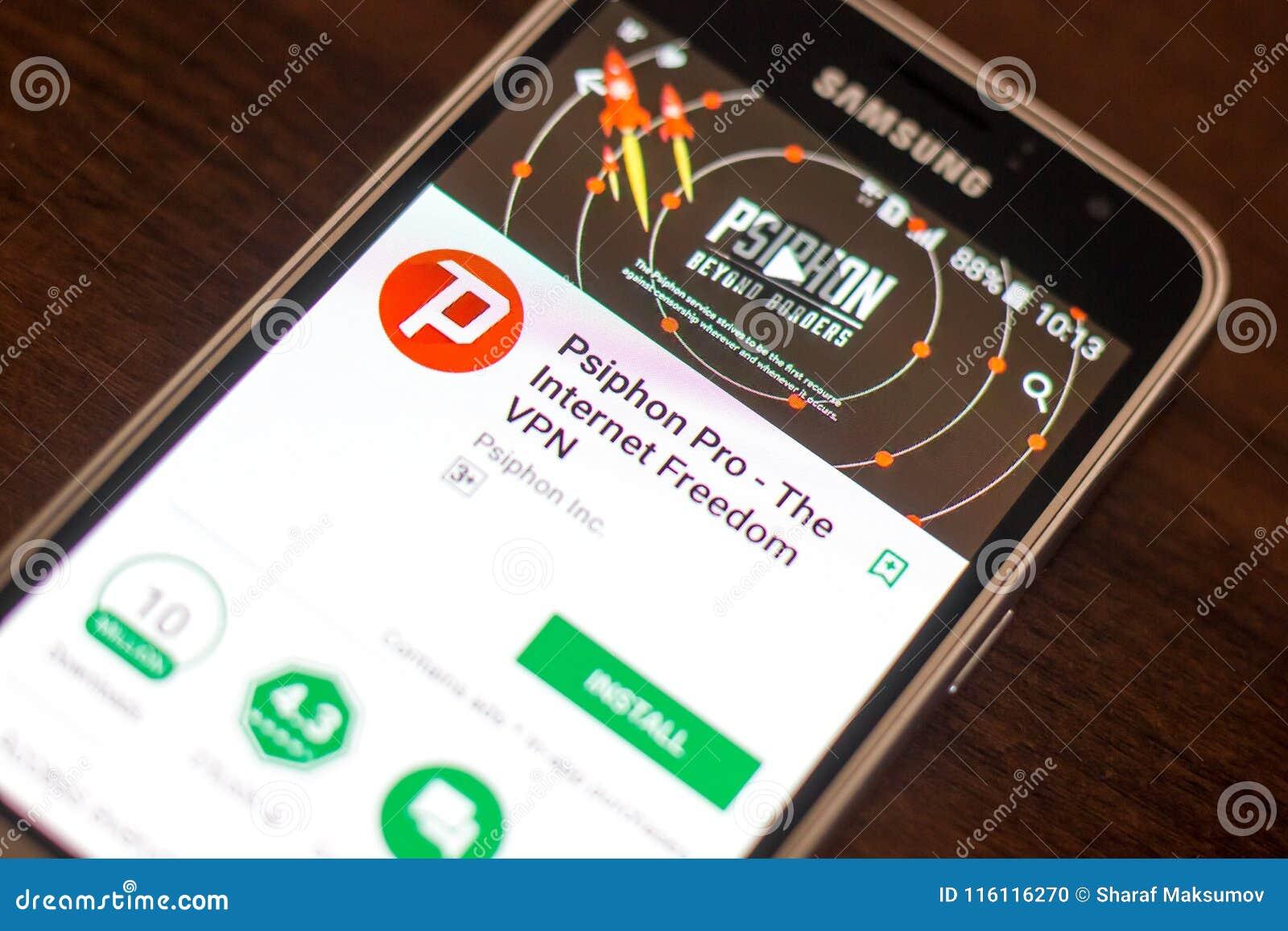 Ryazan, Russia - May 04, 2018: Psiphon Pro VPN Mobile App On