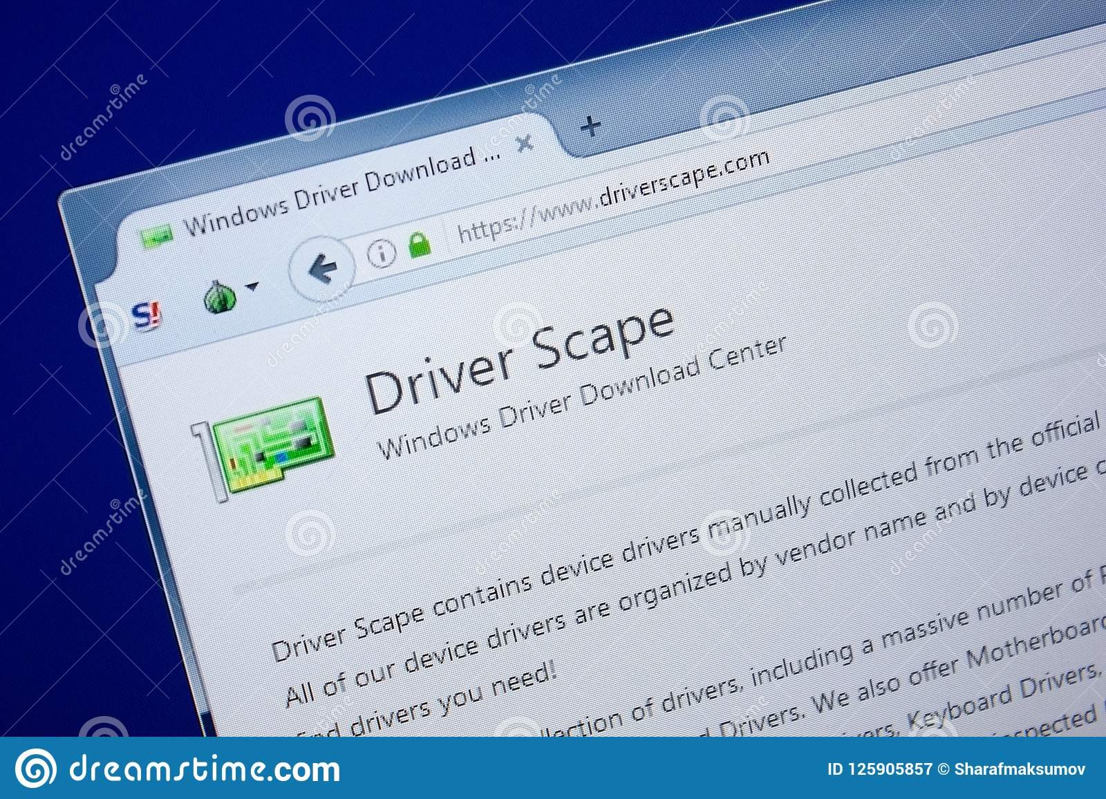 Ryazan, Russia - September 09, 2018: Homepage Of Driver Scape