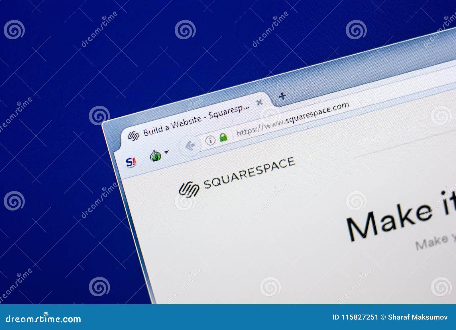 Ryazan, Russland - 29. April 2018: Homepage von Squarespace-Website auf der Anzeige von PC, URL - Squarespace com