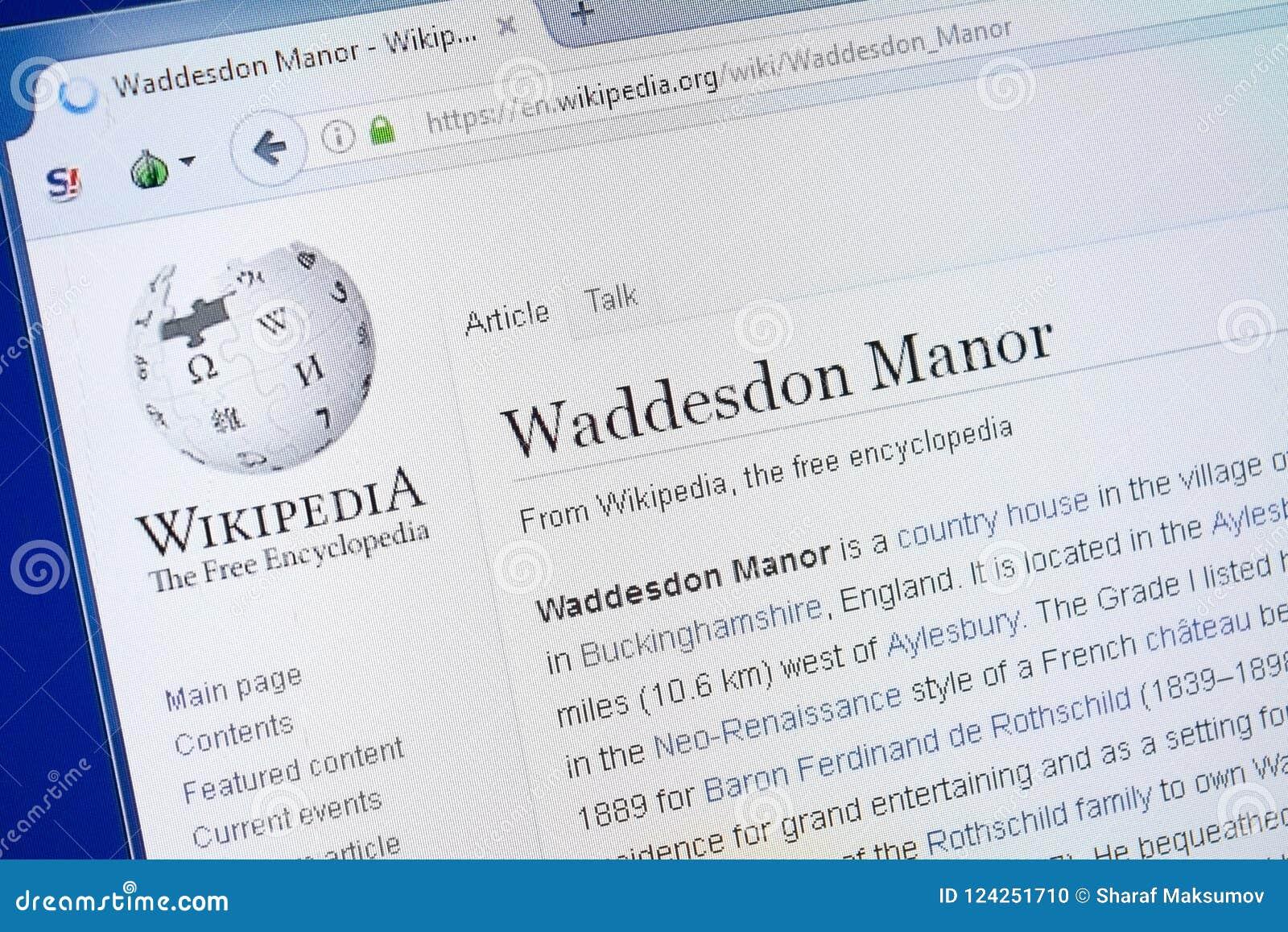 Ryazan, Russland - 19. August 2018: Wikipedia-Seite über Waddesdon-Landsitz auf der Anzeige von PC