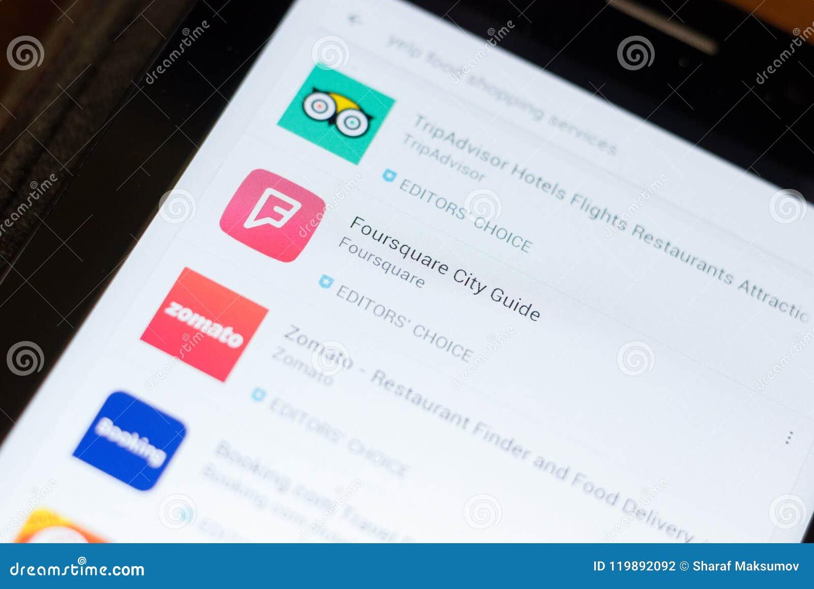 Ryazan, Russland - 24. Juni 2018: Foursquare Stadt-Führerikone auf der Liste von beweglichen apps