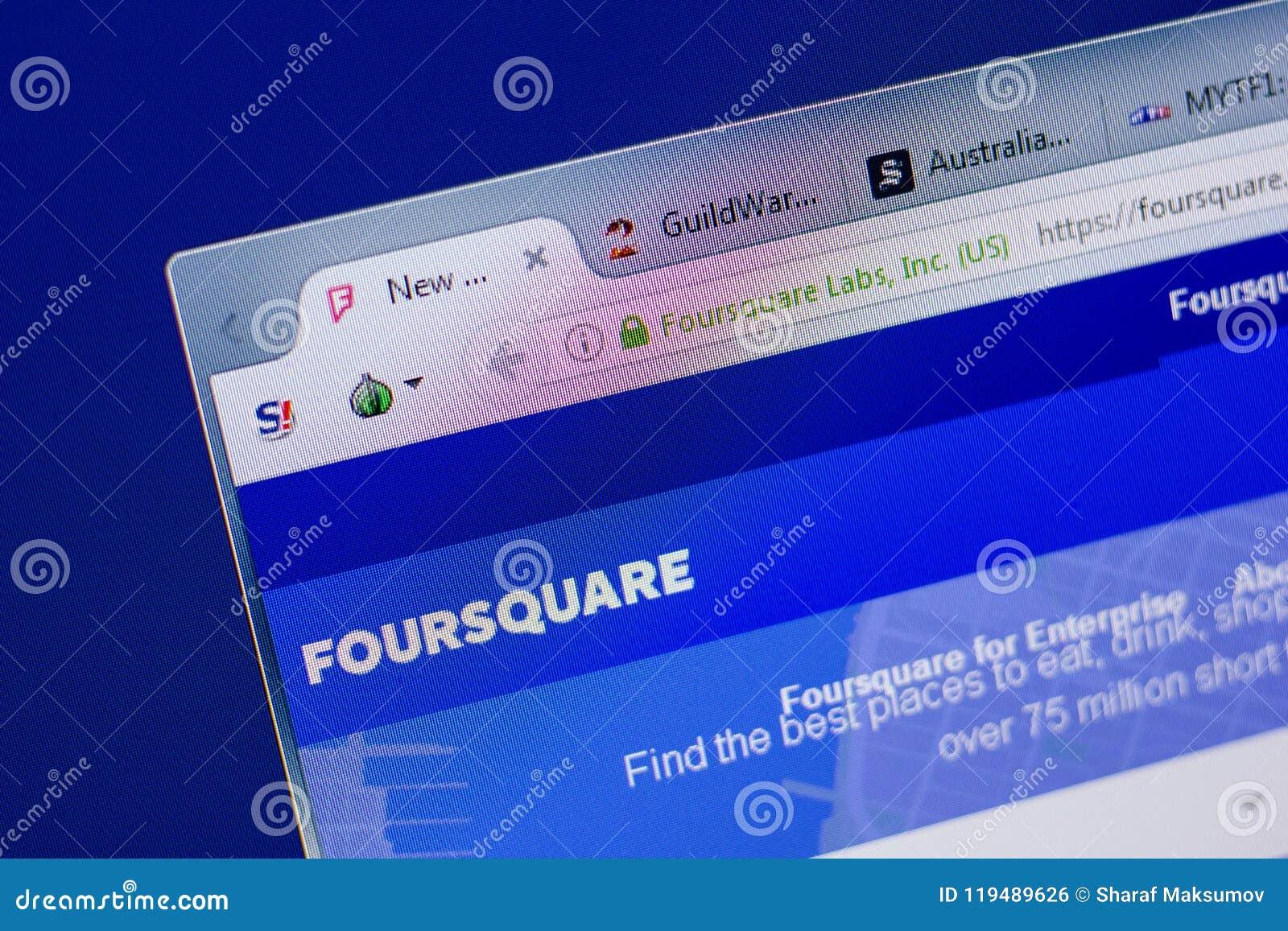 Ryazan, Russland - 17. Juni 2018: Homepage von FourSquare Website auf der Anzeige von PC, URL - FourSquare com