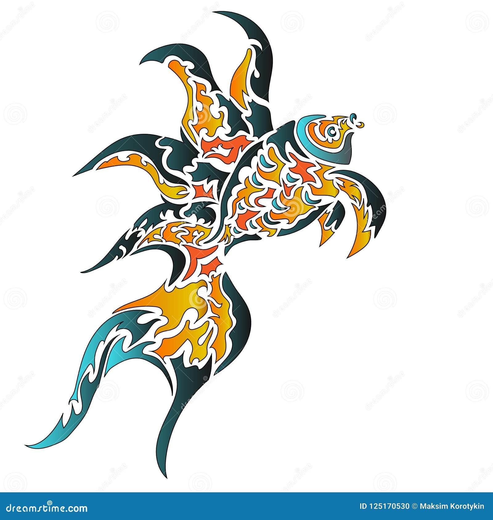 Ryba Biały Tło Wzór Tatuaż Ilustracja Wektor Ilustracja