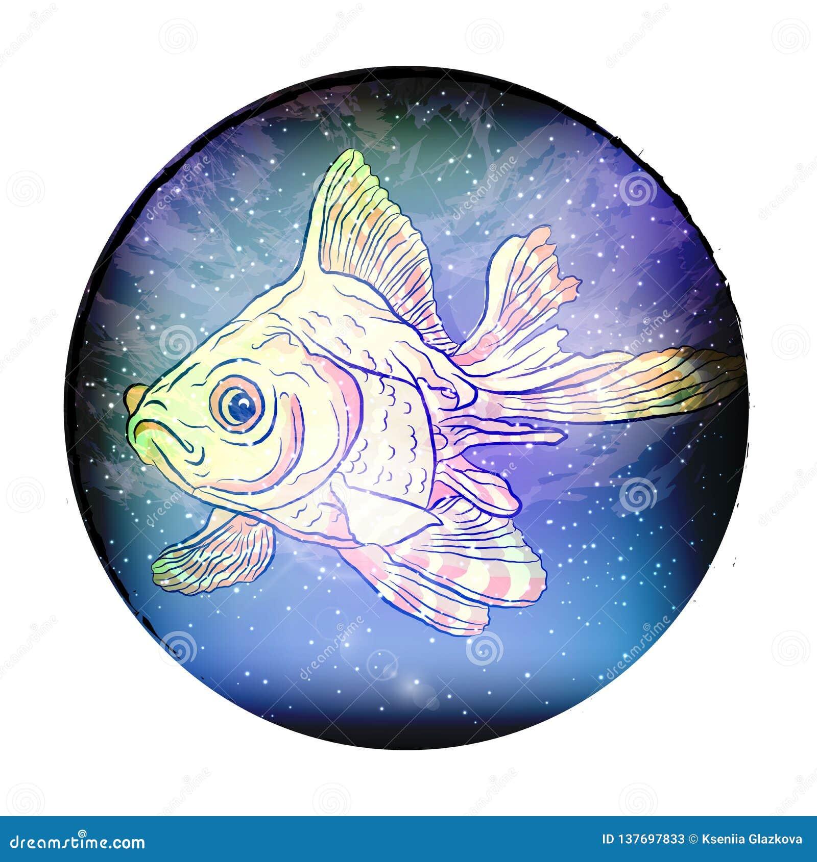 Rybi pozaziemski gwiazdozbiór ryba wektor