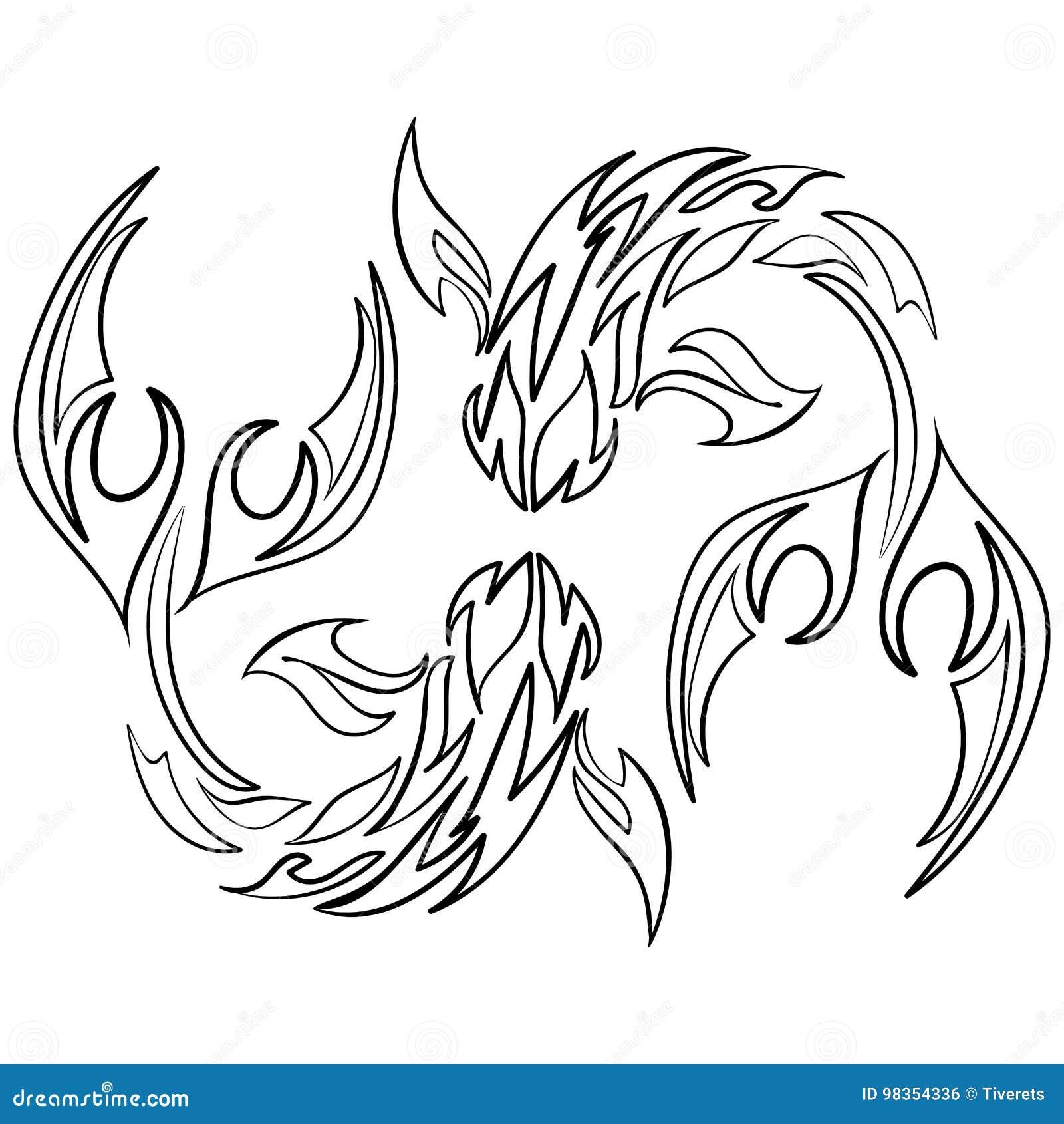 Rybia Ikona Na Białym Tle Astrologia Zodiak Ilustracja
