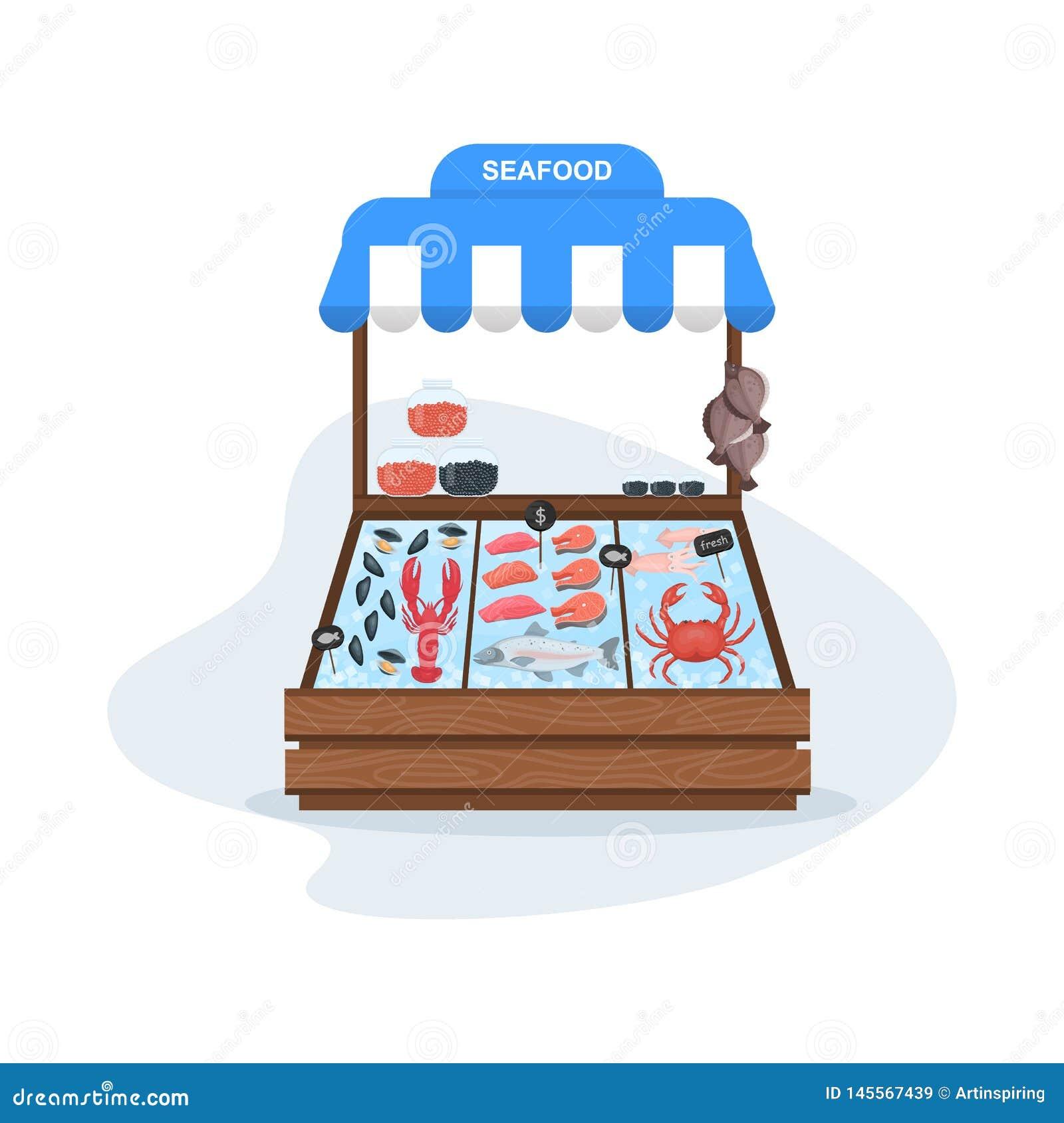 Rybiego rynku poj?cie Owoce morza w lodzie ?oso? i tu?czyk