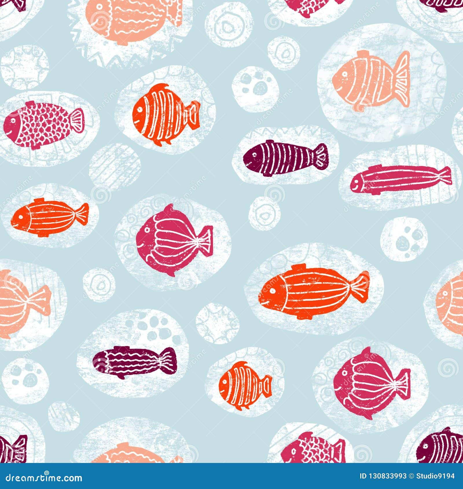Ryby w bąbla różowym pomarańczowym białym błękitnym bezszwowym wzorze
