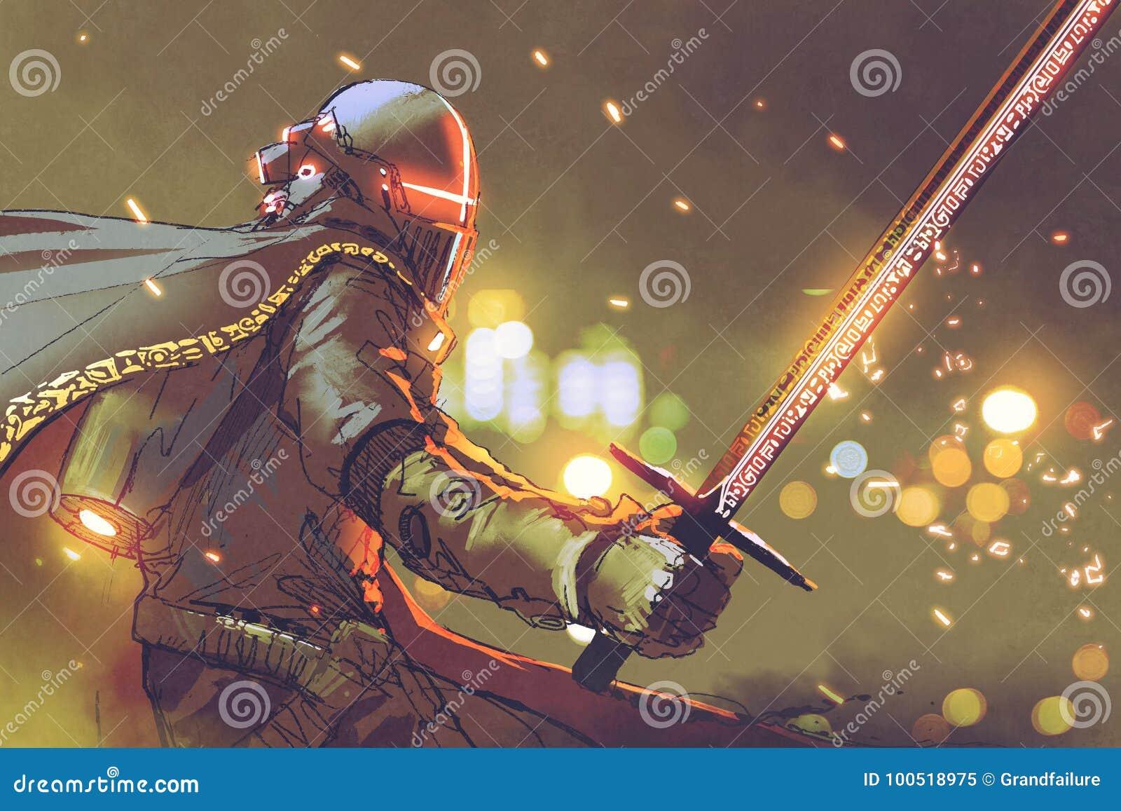 Rycerz w futurystycznym opancerzenia mienia magii kordziku